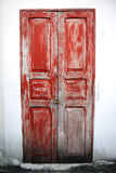 The old red wooden door. Royalty Free Stock Images