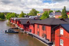Old red wooden houses on the coast, Porvoo Stock Photography