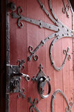 Old red wooden portal Stock Images