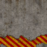 Old Red and Yellow Hazard Stripes Sign Wall Royalty Free Stock Images