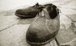 Old Redneck Shoes-grainy image Stock Images