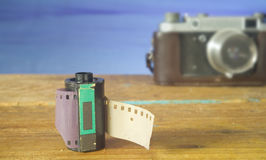 Old reel of film and vintage Camera Stock Photography