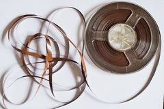 Old reel with magnetic tape for record player Stock Photos