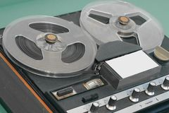 Old reel tape recorder of the late seventies. stock images
