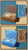 Old reel tape recorder set. Stylized vector illustration on the theme of retro electronics. old reel tape recorder with speaker.  in two color options Royalty Free Stock Photo