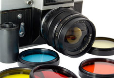 Old reflex camera Stock Photo