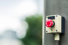 Old refresh button. Old red round button with arrows Stock Photos