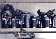 Old refurbished cameras Stock Photography