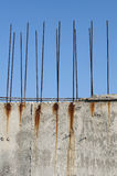 Old reinforcing steel protruding from the concrete Stock Image