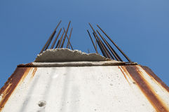 Old reinforcing steel protruding from the concrete Royalty Free Stock Images