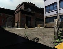 Old reliance district. 3D rendering of an old abandoned district Royalty Free Stock Images