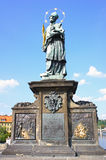 Old relief below statue of St.John of Nepomuk on Charles Bridge in Prague Stock Images