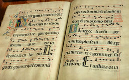 Old religious book. Vintage medieval religious music book Stock Images