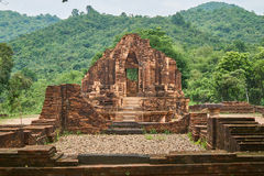 Old religious buildings from the Champa empire - cham culture. In my son, near Hoi an, Vietnam. World heritage site. Old reiligous buildings from the Champa royalty free stock photo