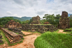 Old religious buildings from the Champa empire - cham culture. In my son, near Hoi an, Vietnam. World heritage site. Old reiligous buildings from the Champa stock photo