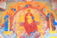 Old religious painting. Church of Saint Nicolas in Yaroslavl, Russia. Royalty Free Stock Images