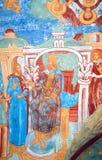 Old religious painting. Church of Saint Nicolas in Yaroslavl, Russia. Stock Photos