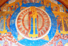 Old religious painting in the church of Saint Nicolas in Yaroslavl, Russia. Royalty Free Stock Images
