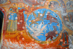 Old religious painting. Old church interior. Royalty Free Stock Images