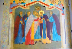 Old religious painting in Trinity Sergius Lavra. Sergiev Posad, Russia. UNESCO World Heritage Site. It shows a scene from life of Saint Sergius. It's painted Stock Photos