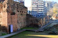 Old remains of the palace of the Roman Emperor Galerius in Thessaloniki, Greece. Ruins of Galerius empire in Navarinou Square, Thessaloniki Greece stock images