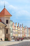 Old Renesaince houses in Telc, Czech Republic, UNESCO. TELC, CZECH REPUBLIC - MAY 10, 2013: A row of old Renesaince houses. One of the most beautiful markets in Royalty Free Stock Images
