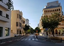 Old Renovated  Buildings in Eclectic style in King Albert Square. Tel Aviv, Israel- November 13,2017:Old Renovated  Buildings in Eclectic style in King Albert Stock Photography