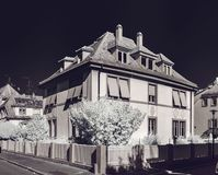 Old renovated house in calm quarter of Strasbourg, infrared view stock images