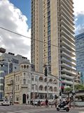 Old Renovated and New Buildings in Eclectic style in old part Of Tel Aviv. Tel Aviv, Israel- January 09,2018 : Old Renovated and New Buildings in Eclectic style Royalty Free Stock Photo