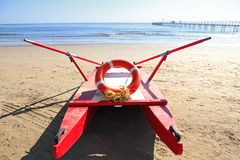 Old rescue boat on beach Stock Photo