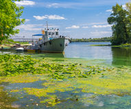 Old rescue boat on a Dnepr river Royalty Free Stock Photos