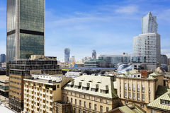Old residences and modern office buildings at Warsaw. City center Stock Images