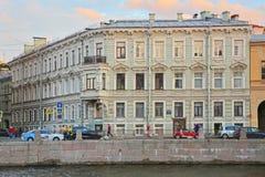 Old residental house on Fontanka River Embankment in Saint Petersburg, Russia Royalty Free Stock Image