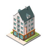 The old residential building in European style with an attic floor. Vector isometric infographic icon . The old residential building in European style with an Royalty Free Stock Photo