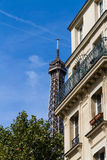 Old residential building front, with Eiffel tower in background, Royalty Free Stock Images