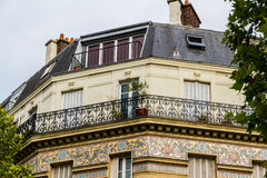 Old residential building front, Paris. Stock Photos