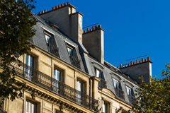 Old residential building front, Paris. Royalty Free Stock Images