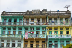 Old residential building in Yangon Stock Photos