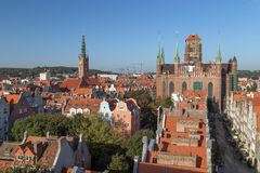 Old Town in Gdansk viewed from above Stock Images