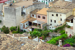 Old residential buildings of the old municipality of Capdepera. Majorca, Spain. Stock Photos