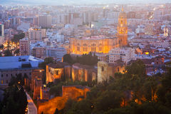 Old residential districts in Malaga with Cathedral Stock Images
