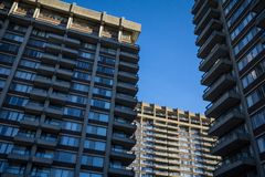 Old Residential High rise towers from North America, typical from the Brutalist Architecture movement called brutalism. Picture of a group of 3 high rise towers royalty free stock photos