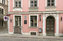 Old residential house  in the classicism style. Riga, Latvia. Details of the old residential house, built in 1780 by Christoph Haberland  in the style of Royalty Free Stock Photo