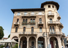 The old residential houses decorated with mosaic tiles and pattern maid from bricks, Prato della Valle, in Padua Stock Photos