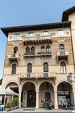 The old residential houses decorated with mosaic tiles and pattern maid from bricks, Prato della Valle,  in Padua Royalty Free Stock Photos