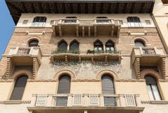 The old residential houses decorated with mosaic tiles and pattern maid from bricks, Prato della Valle,  in Padua. Italy Royalty Free Stock Image