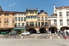The old residential houses on Prato della Valle in Padua. Italy Royalty Free Stock Images