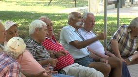 Old residents of Varna, Bulgaria stock video footage