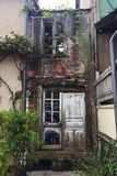 Old restaurant ruin in pittoresque french town Royalty Free Stock Image