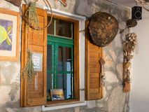 Old restaurant window in Kornati islands Croatia Stock Images